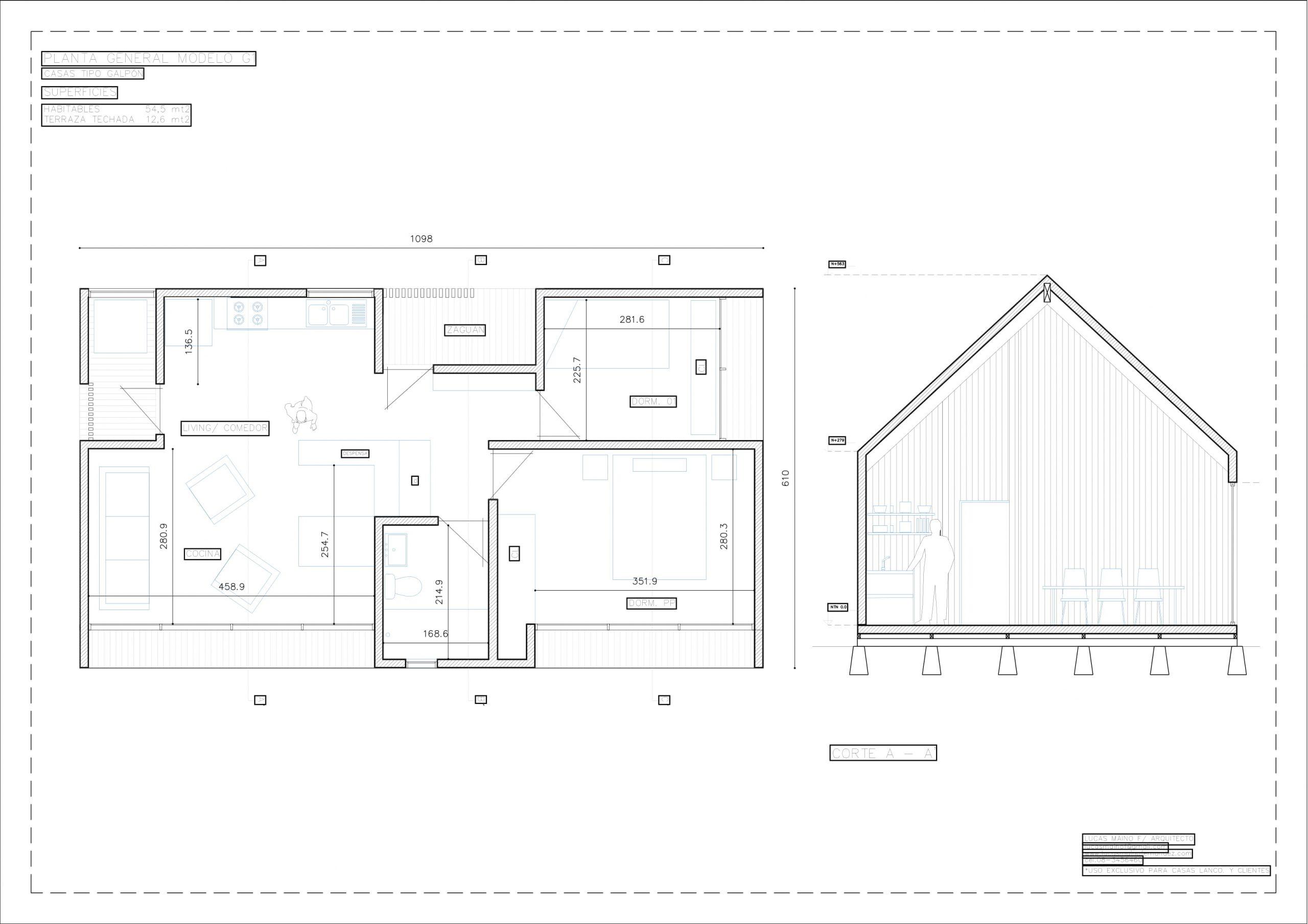 Plano 01 - Casa línea Galpón modelo G1
