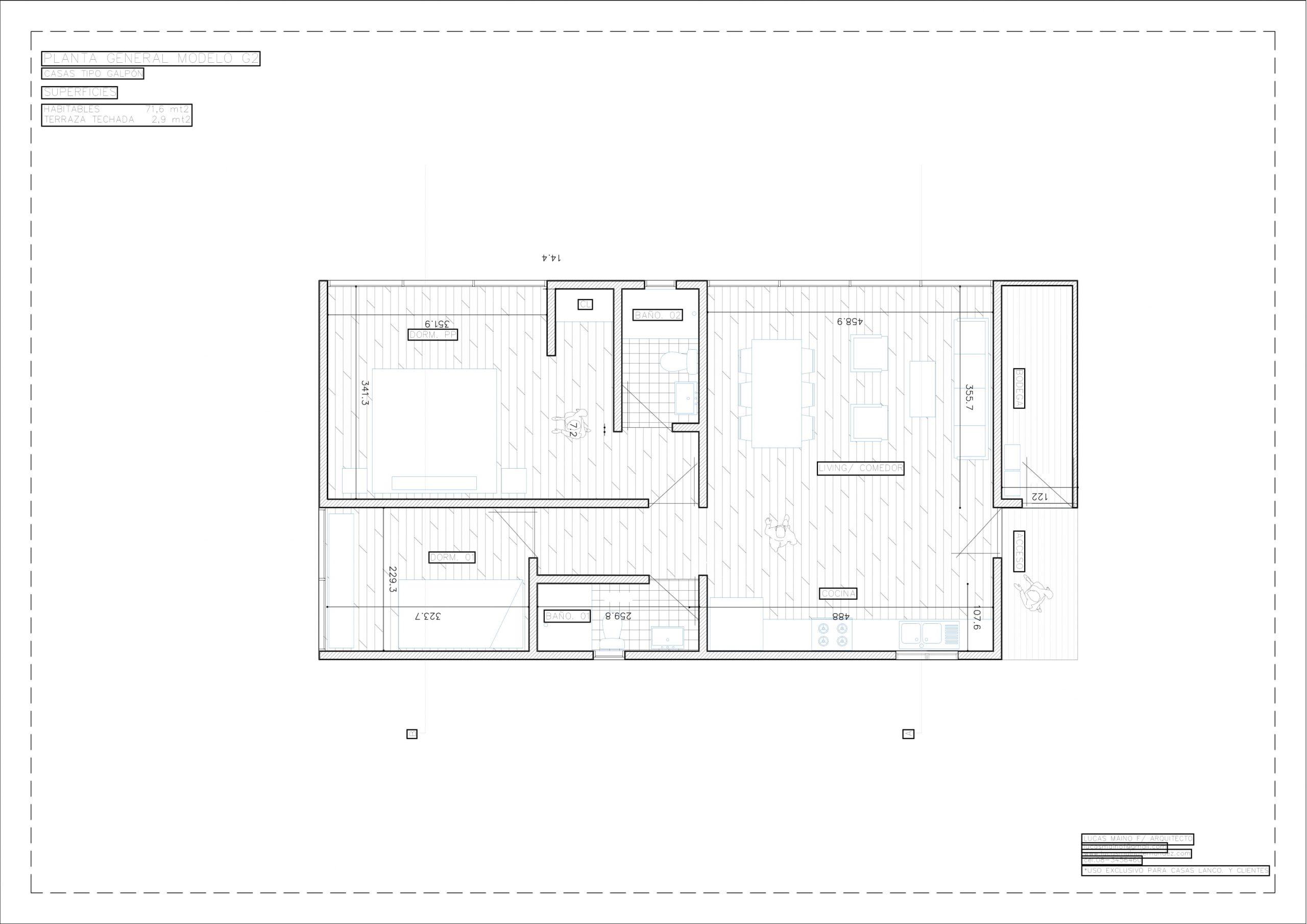 Plano 01 - Casa línea Galpón modelo G2
