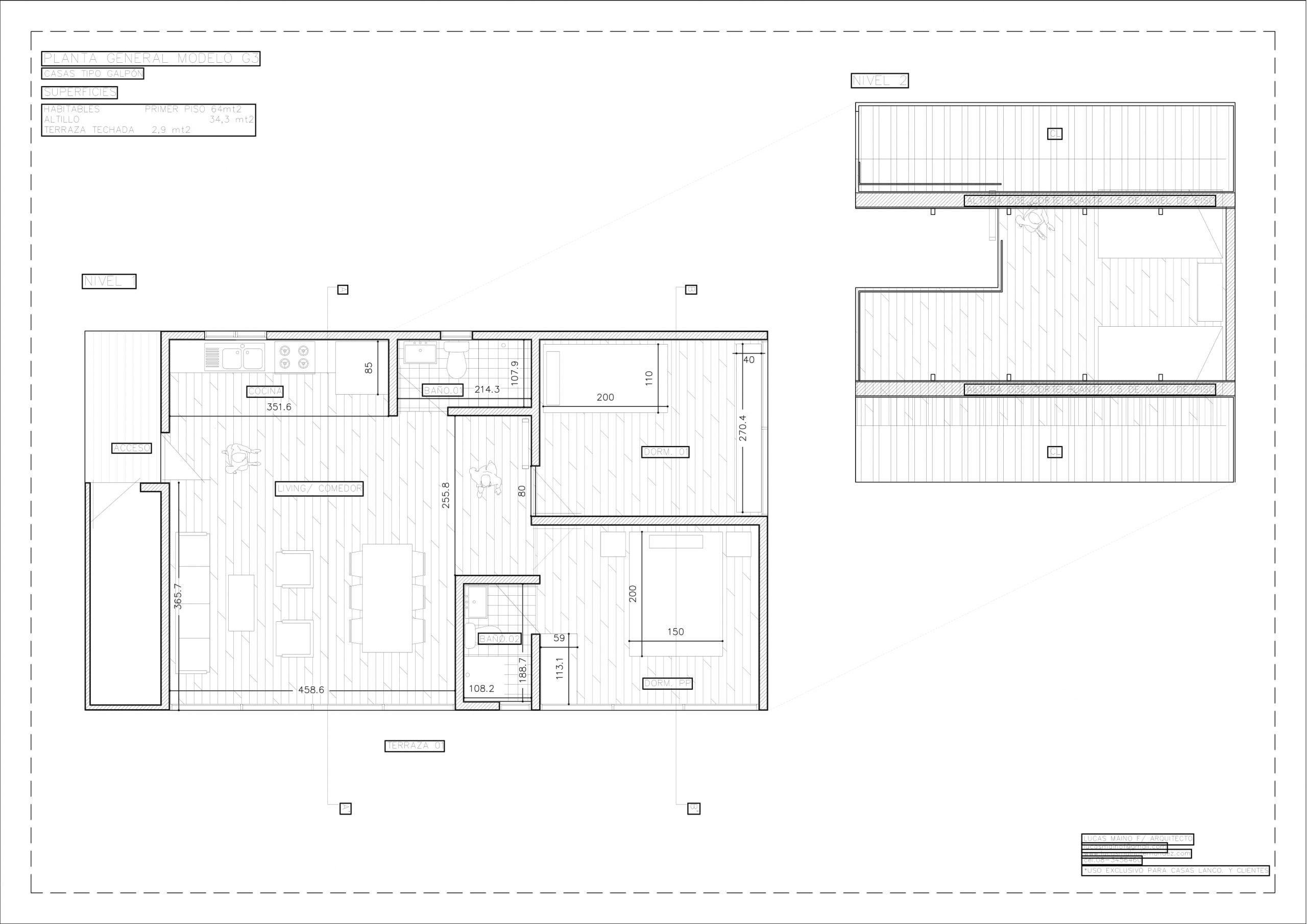 Plano 01 - Casa línea Galpón modelo G3