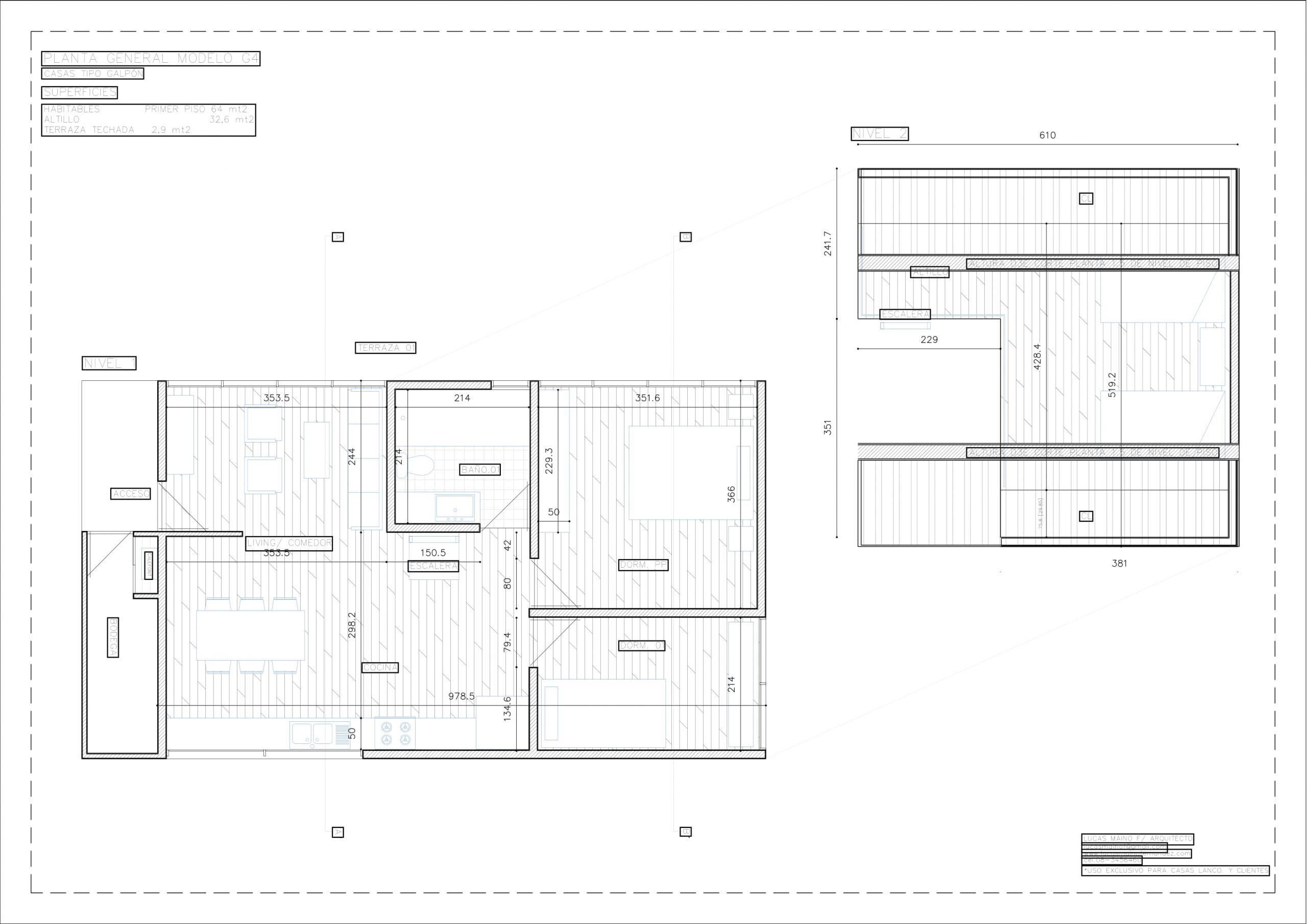 Plano 01 - Casa línea Galpón modelo G4