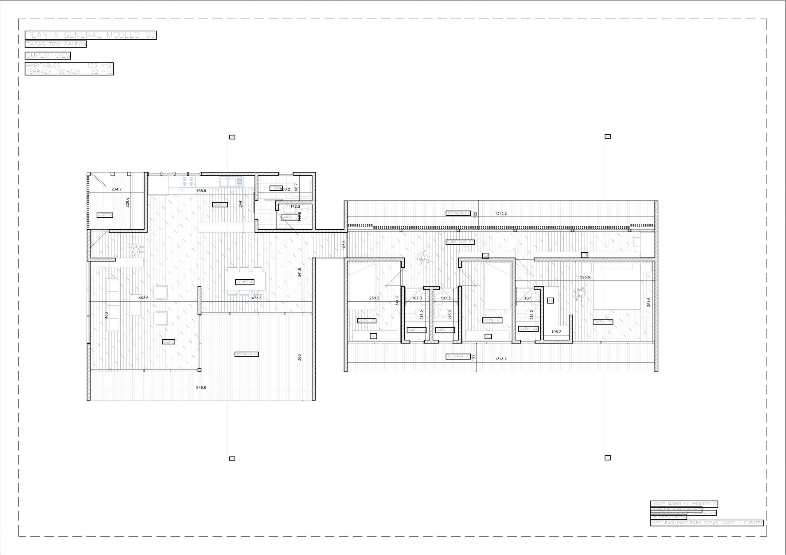 Plano 01 - Casa línea Galpón modelo G5
