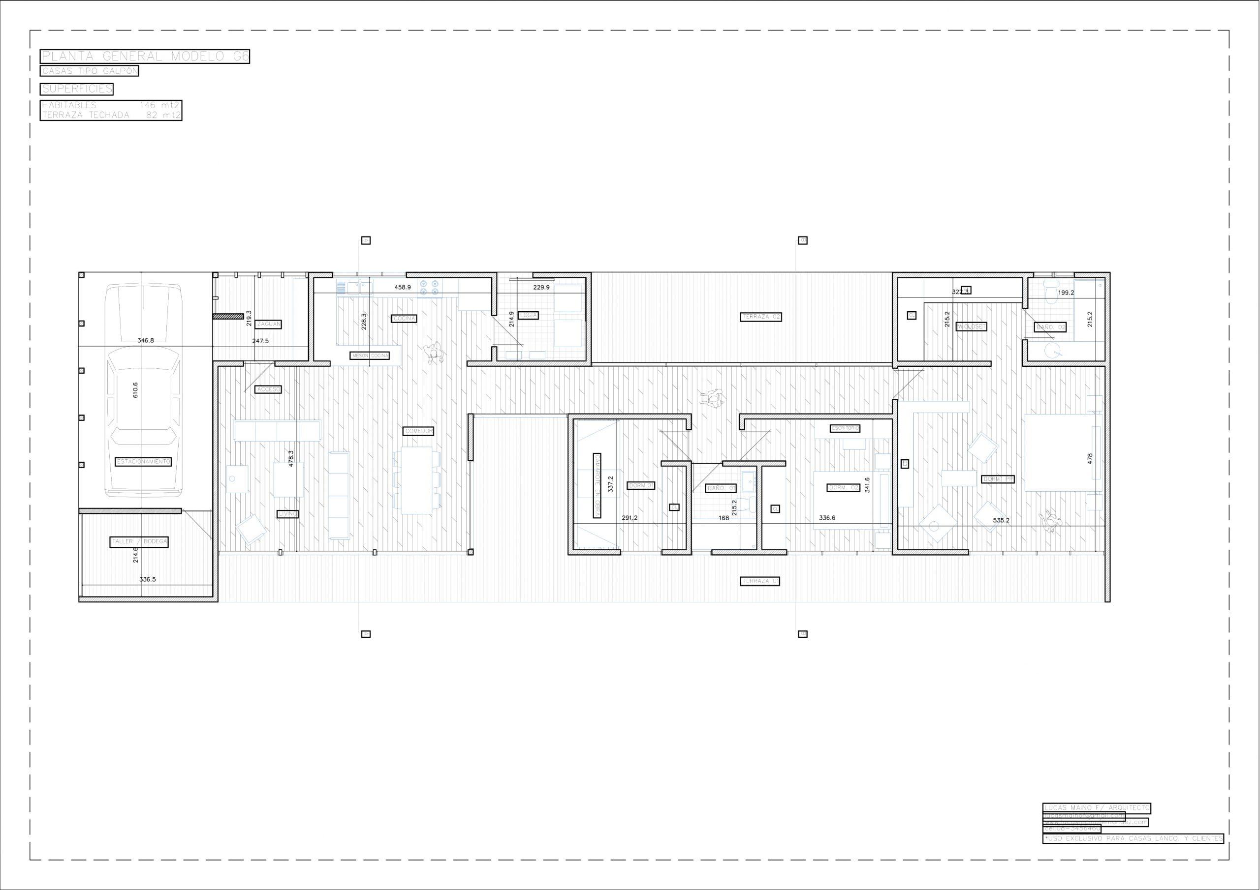 Plano 01 - Casa línea Galpón modelo G6