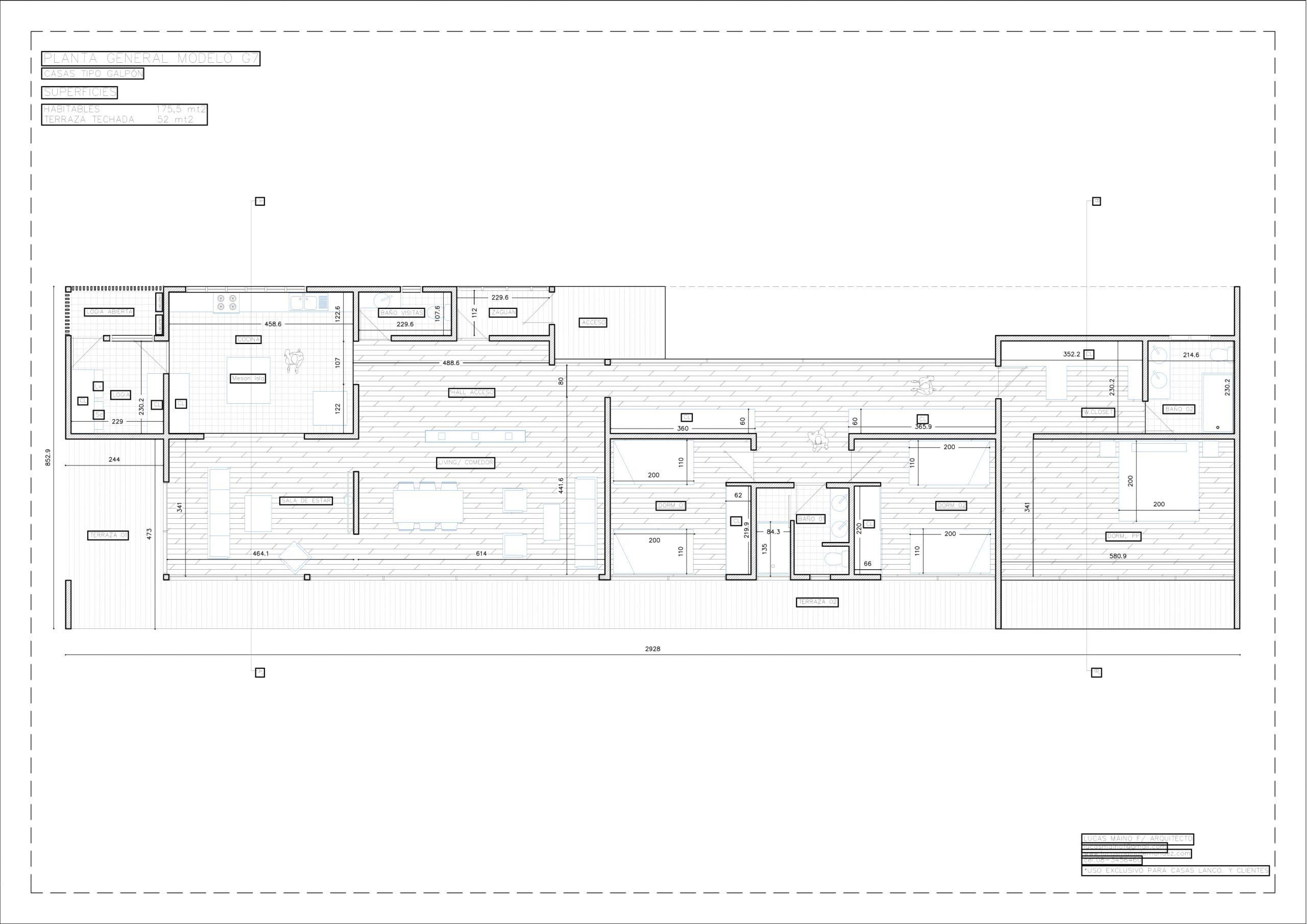 Plano 01 - Casa línea Galpón modelo G7