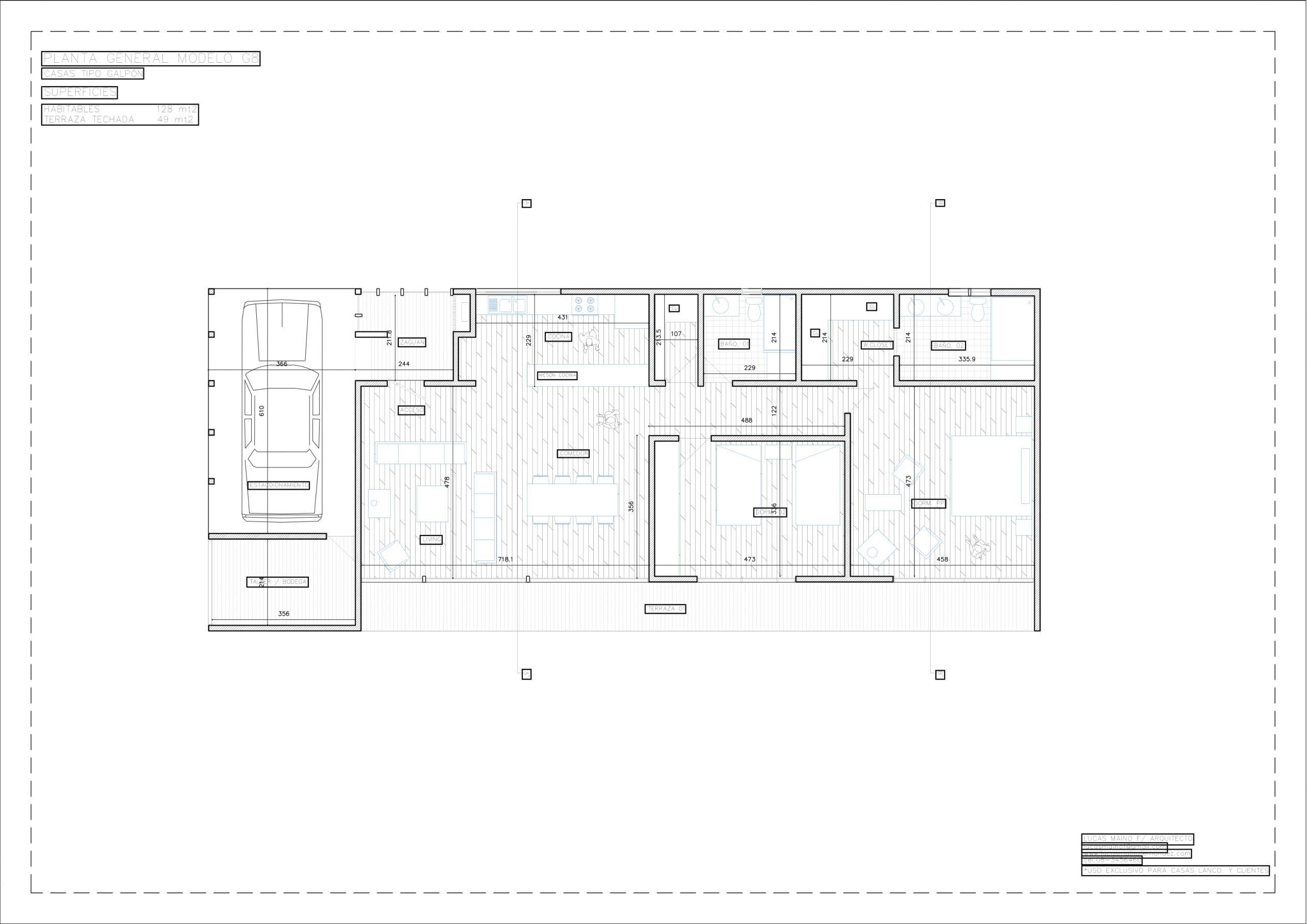 Plano 01 - Casa línea Galpón modelo G8